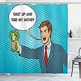 ABAKUHAUS Meme Duschvorhang, Halt die Klappe & Take My Money Man, Hochwertig mit 12 Haken Set Leicht zu pflegen Farbfest Wasser Bakterie Resistent, 175x240 cm, Sea Blue & Multicolor