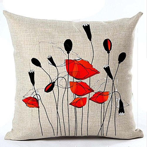 Beautiful Charming Watercolor Oil Painting Red Poppy Sweetheart Cotton Linen Throw Pillow Case Cushion Cover New Home Office Indoor Decorative Square 18 X 18 Inches (8)