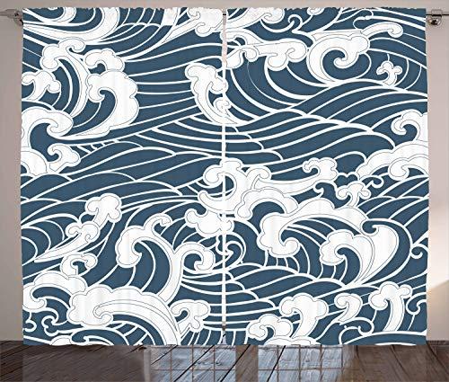 ABAKUHAUS Ola Japonesa Cortinas, Río de Las tormentas Retro, Sala de Estar Dormitorio Cortinas Ventana Set de Dos Paños, 280 x 175 cm, Azul de la Pizarra Blanca