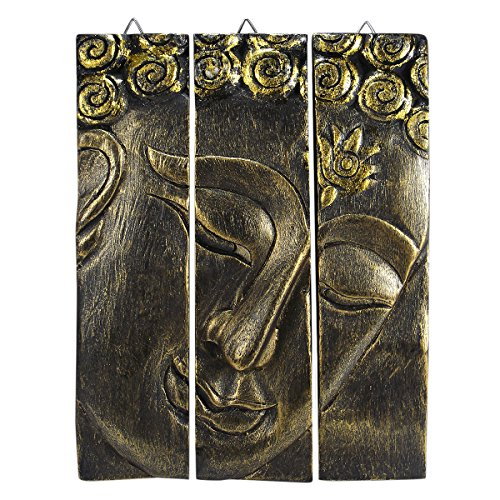 Gold-Tone Buddha Face Nirvana Spirit 3-Panel Hand Carved Rain Tree Wood Wall Art Relief Panel Meditating Buddhism Peace Zen Wall Sculpture