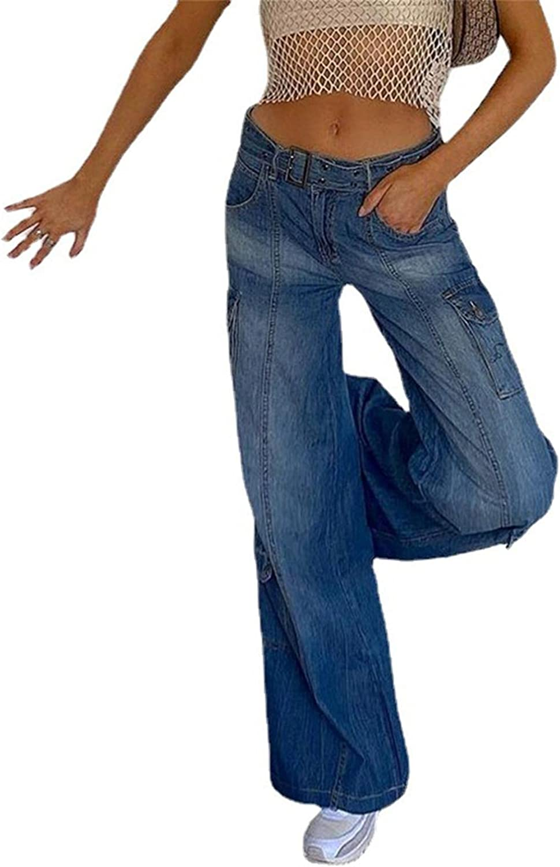 Larisalt Jeans for Women High Waist Straight, Women Baggy Boyfriends Jeans Solid Color Wide Leg Denim Pants with Pockets