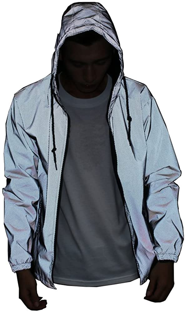 LZLRUN Reflective Jacket Casual Hiphop Windbreaker Night Sporting Coat Hooded Fluorescent Clothing