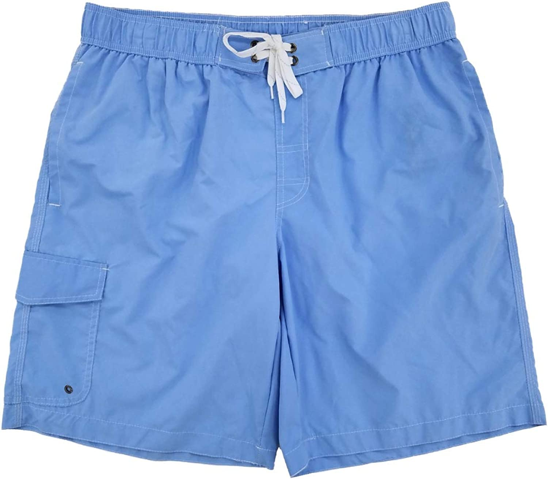 Mens Light Blue Cargo Swim Trunks Water Shorts Swim Shorts Board Shorts
