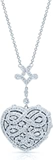 Diamond Pave Heart Locket Necklace in 14k White Gold, 18 Inches
