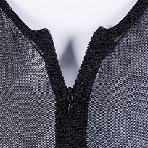 Mono de Encaje Mujer Verano Body sin Mangas Escote en V sin Respaldo Transparente Bodysuit Elegante Tops Traje de Mujer para Casual Fiesta Playa (Negro, L)