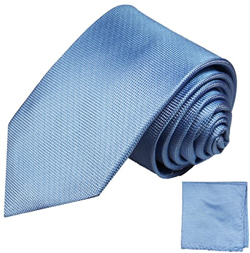 Paul Malone Seidenkrawatten Set 2tlg schmale 6cm Krawatte blau uni + Einstecktuch (Normallange 150cm)
