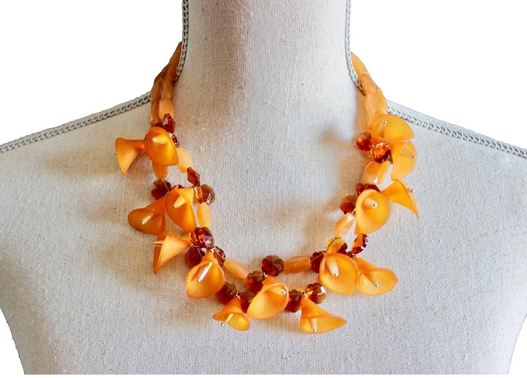 Two Strand Rust Max 82% OFF Cheap bargain Orange Multi Necklace State Floral