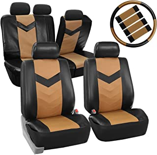 FH Group Limited TIME ONLY PU021115 Synthetic Leather Full Set Auto Seat Covers w. Steering Wheel Cover & Seat Belt Pads, Tan Black Color - Fit Most Car, Truck, SUV, or Van