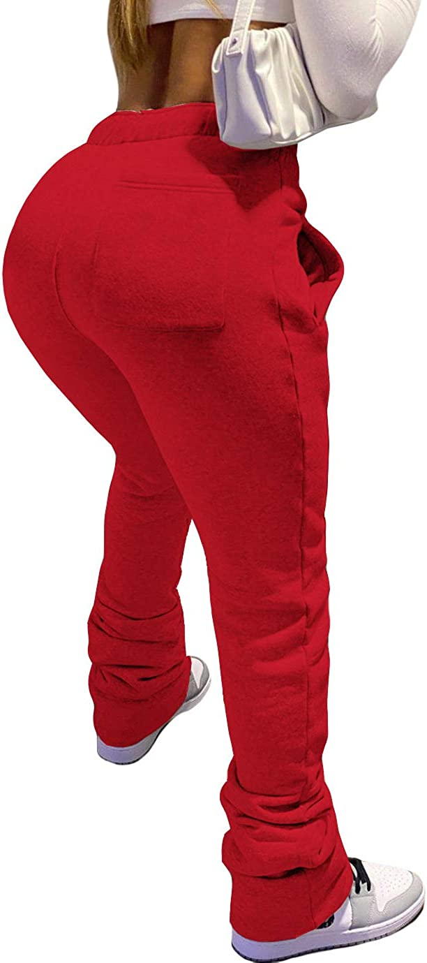 ECHOINE Women Bell Bottom Flare Pants Stacked Leggings Workout Joggers Sweatpants Solid Color Drawstring Pants S XL