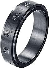 INRENG Men's Stainless Steel Tibetan Buddhist Black Mantra Spinner Lucky Ring 6MM