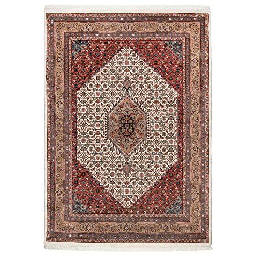 Benares   Bidjar   Teppich aus 100% Schurwolle   handgeknüpft   Größe: 60 x 90 cm   Farbe: Cream/Braun   THEKO