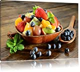 Frutta mela uva ciliegia cesto di frutta su tela, Immagini XXL...