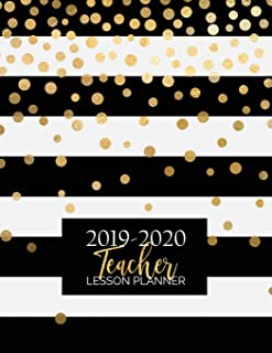 Teacher Lesson Planner: Weekly and Monthly Calendar Agenda | Academic Year August - July | Includes Quotes & Holidays | Gold Black White Striped (2019-2020)
