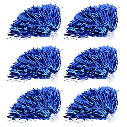 FOLOSAFENAR Poms de porristas 6 Piezas 7 Colores duraderos, como Accesorio de Disfraz(Blue)