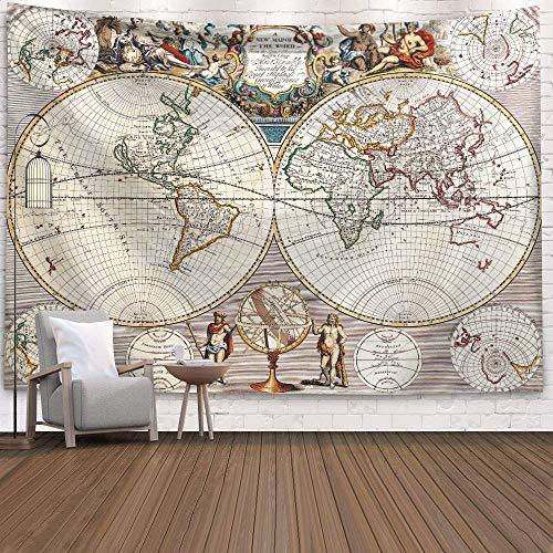 KHKJ Mapa del Mundo Tapiz de Globo Cabecero Arte de la Pared Colcha Dormitorio Tapiz para Sala de Estar Dormitorio Decoración para el hogar Droppshiping A9 95x73cm