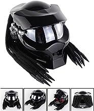 Smotly Casco Casco da Motocross,Casco da Guerriero frastagliato Casco Integrale Alien Predator Personale Casco Harley Motociclo Alternativo Vintage e Tessuto,M