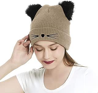 Kingbabe Women Winter Beanie Cute 2Pom Pom Cat Ears Cuff Hats Soft Warm Thick Beanies Chunky Knit Hat Girls Ski Skull Caps