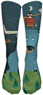 Paul Bunyan Cotton Stretchability Compression Knee Socks White Long Distance Running Adults Cartoon Knee Long Tube Crew Socks
