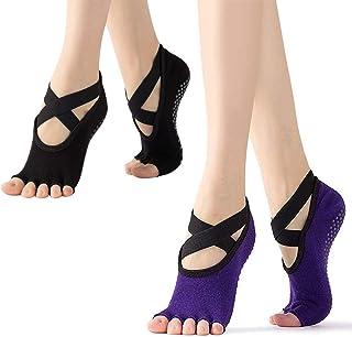 Xrten, Xrten Calcetines de Yoga para Mujer, Calcetines sin Dedos Yoga 2 Pares, Calcetines de Yoga Antideslizantes, Ideal para Yoga Pilates Ballet, Fitness Sports