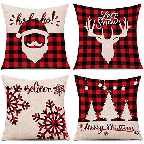 Whaline 4 Pieces Red Black Christmas Scottish Buffalo Checkers Plaid Pillow Case Santa Reindeer Snow X-mas Tree Cushion Cover, Cotton Linen Sofa Bed Throw Cushion Cover Decoration (18' x 18')