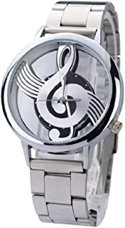 Novelty Musical Note Dial Quartz Movement Watch with Stainless Steel Band