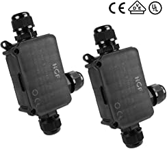 3 Way Junction Box, La Vane 2-Pack IP66 Waterproof Outdoor 3 Way Cable Connector Lighting Connector Electrical External Coupler, PG9 Cable Gland Ø 4-8mm