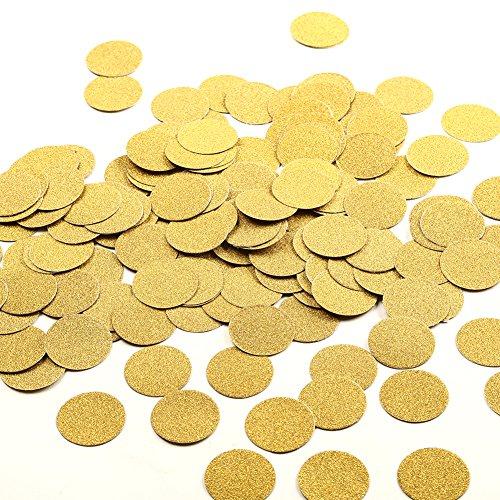 MOWO Glitter Paper Confetti Circles, Wedding Party Decor and Table Decor, 1.2'' in Diameter (glitter gold,200pc)