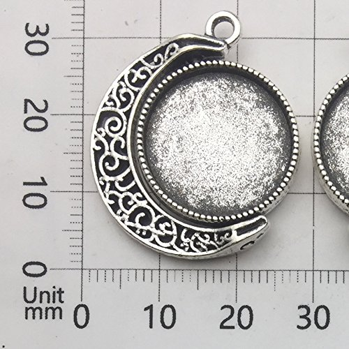 10 Sets Fit 18mm Moon Rotation Double Side Round Blank Bezel Pendant Trays Base Cabochon Settings Trays Pendant Blanks Jewelry Making DIY Findings (M133)