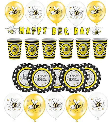 Libetui Deko Set Bienchen Geburtstag Deko Kindergeburtstag Party Luftballons Banner Motiv Biene inkl. Geschirr für bis zu 12 Kinder