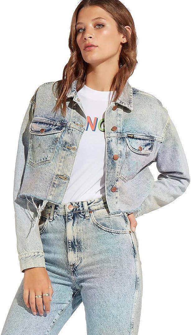 Wrangler Women's Long-Sleeve Retro Crop Premium Denim Jacket (Rainbow Light Denim Wash)
