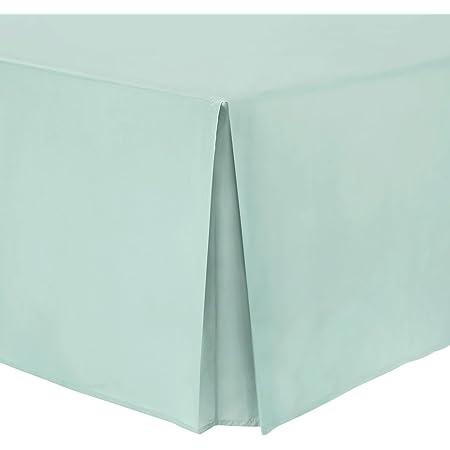Hometexstyle – Faldón cubresomier 100 % algodón de percal, 100% algodón, azul pastel, matrimonio grande