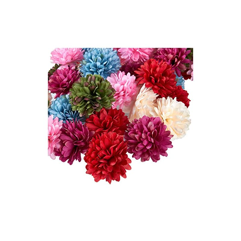 silk flower arrangements juvale artificial flower heads - 60-pack fake chrysanthemums wedding decorations, baby showers, diy crafts, mixed colors, 2.5 x 2.5 x 1.7 inches