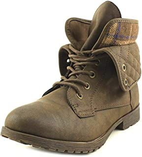 Rock & Candy Womens Spraypaint Closed Toe Ankle Combat Boots, Brown, Size 11.0