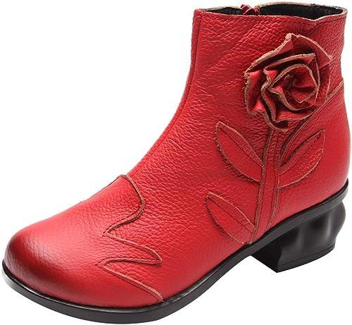 ZHRUI Botines de Cremallera de Tobillo Hechos a Mano de Flores Casuales para damen (Farbe   rot, tamaño   7-7.5 UK=42 Asian)
