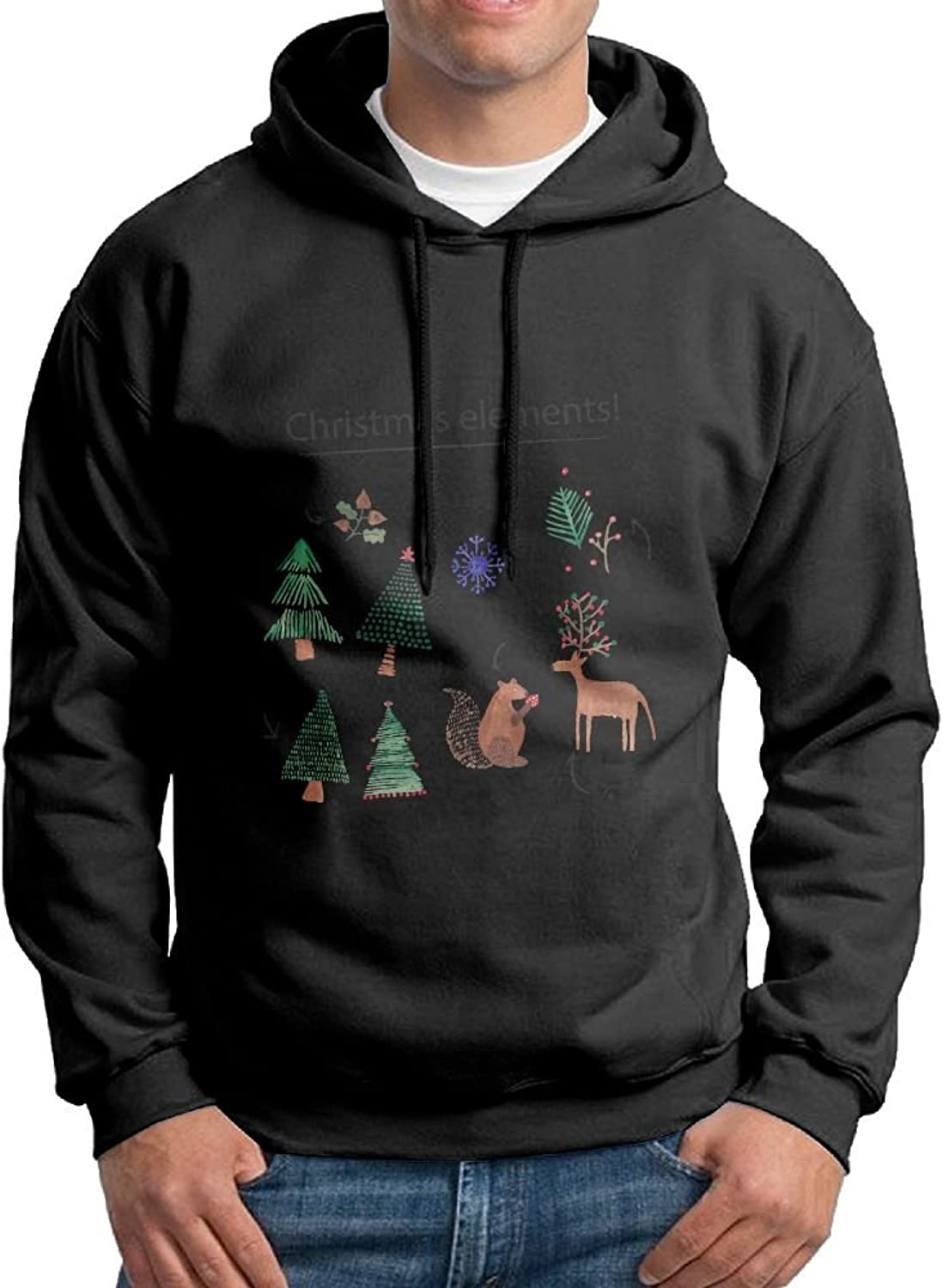 Fashion Men's Athletic Christmas Elements Print Soft & Cozy Drawstring Hooded Without Pocket Hoody White