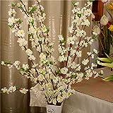 LAMF Lot de 10 branches artificielles en fleur de pêcher, 25,6 cm, branches de cerisier artificielles, pour mariage, maison, bureau, fête, décoration, blanc, 26inch