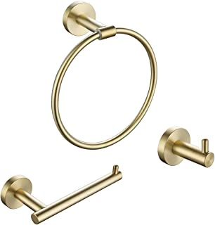 KLXHOME 3-Piece Bathroom Round Wall Mounted Towel Set Stainless Steel Brushed Gold, Includes Towel Rings, Toilet Paper Hol...
