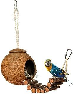 Lazder Nido de concha de coco natural para pájaros, casa de caseta de comedero para mascotas, loros, periquitos, juguete