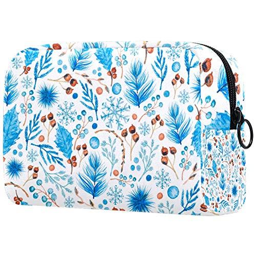Blue Leaf Make-up-Tasche, Kulturbeutel für Frauen, Hautpflege, Kosmetik, Handtasche mit Reißverschluss