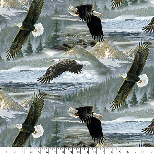 Eagles Soaring Cotton Fabric by The Yard