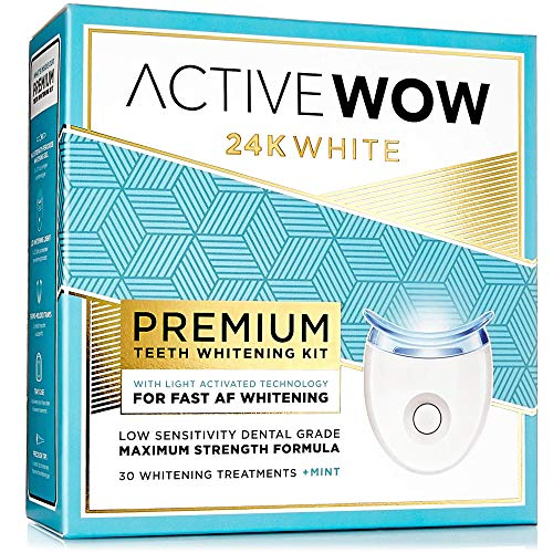 Active Wow Teeth Whitening Kit - LED Light, 36% Carbamide Peroxide, Mint - (3) 5ml Gel Syringes,...