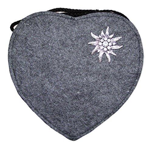 Herz Trachtentasche mit Edelweiß Dunkelgrau