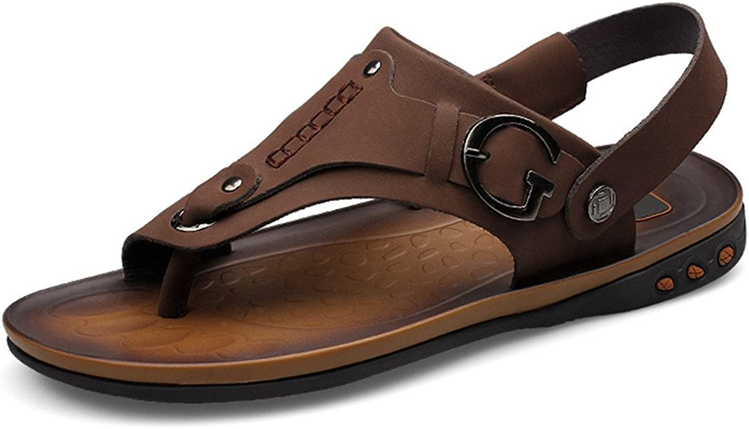 Sandals Men's Flat shoes with Sandals Switch Backless shoes Comfortable Soles Summer Beach Leather Slip Sandalss Sandals (color   Brown, Size   6 UK)