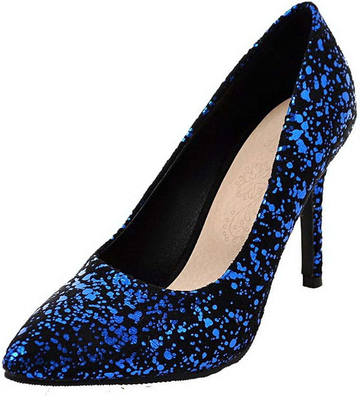 AmoonyFashion Women's Pointed Closed Toe Assorted color High-Heels Court shoes