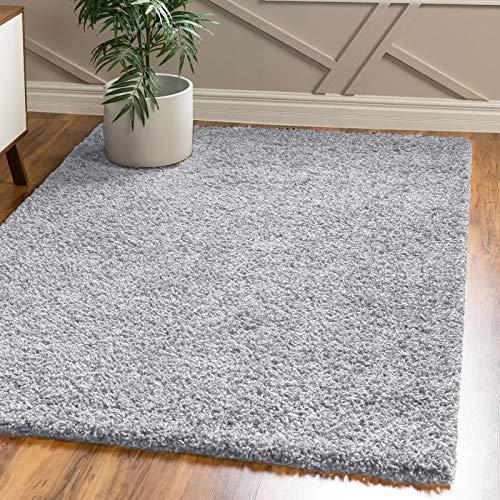 FB FunkyBuys - Tappeto per camera da letto, grande, moderno, morbido, spesso, 5 cm, in pile spesso, disponibile in 12 colori vivaci e 4 misure (grigio argento, 160 x 230 cm)