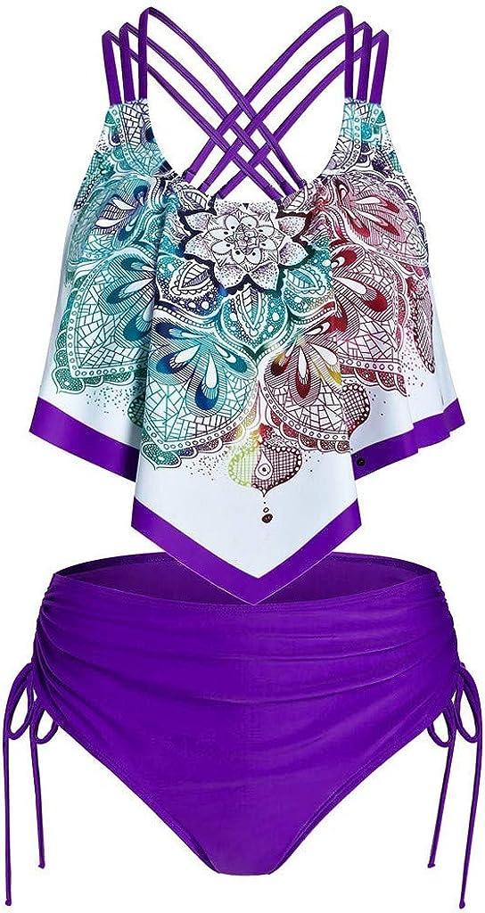 Franterd Two Piece Swimsuits for Women - Overlay Print Flowy Tankini Crisscross Tankini Swimwear Plus Size Bathing Suits