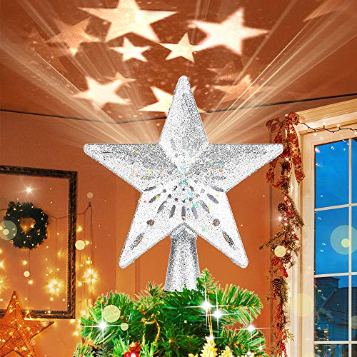 HueLiv Christmas Star Tree Topper, Lighted Star Topper with LED Rotating Warm Color Star Projector Lights, 3D Glitter Hollow Star Tree Topper for Xmas Tree Decorations Gift for Kids Friends