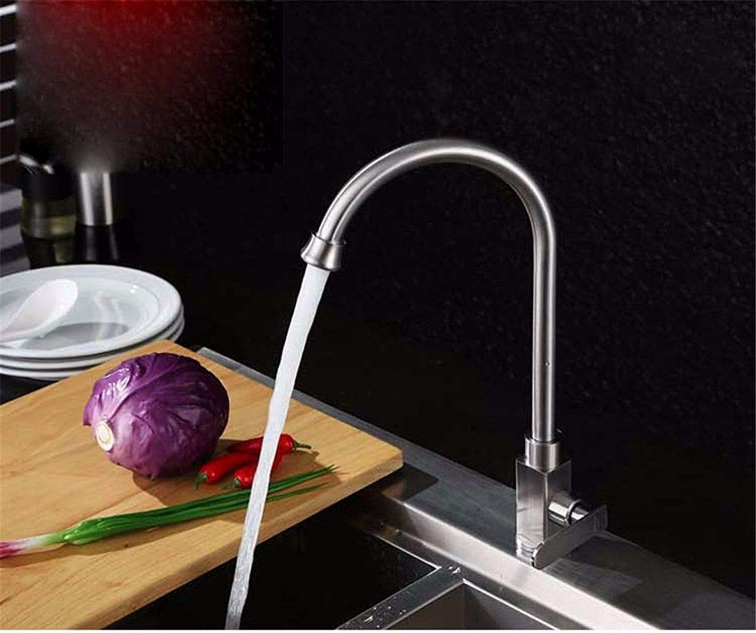 Hlluya Professional Sink Mixer Tap Kitchen Faucet to redate the tube single cold kitchen faucet brushed stainless steel bathroom basin single hole sink,