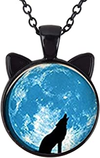 Cat Pendant Necklace Jewelry for Women Kids Gifts Included Free Charm Chain, Wolf Fashion Galaxy Moon Vintage