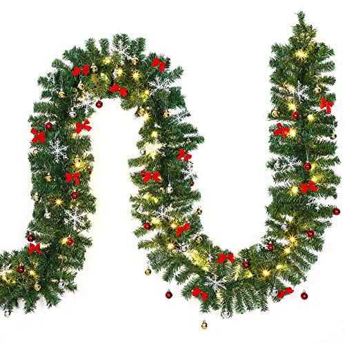 Guirlande lumineuse Imitation sapin 80 LED 5m Décoration Noel Guirlande sapin artificiel LED